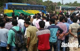 Assault on conductor: Bus staff protest against NITK toll gate staff
