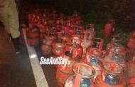 Gas Cylinders Laden Lorry Topples In Kumble