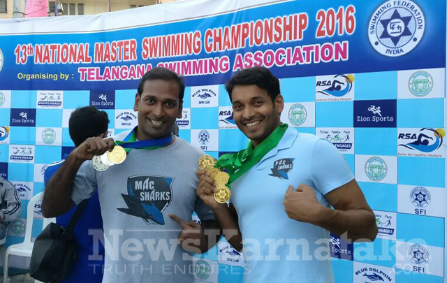 Another feather in cap for Puttur in swimming; coach clinches five golds at National aquatic meet