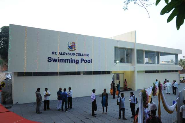 St aloysius college inaugurates olympic standard swimming pool namma tv for Mangalore swimming pool timings