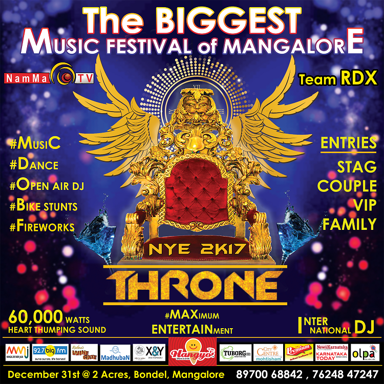 NEW YEAR PARTY in MANGALORE - THRONE 2K17