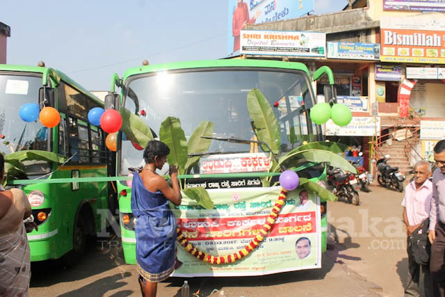 Pramodh Madhwaraj flags off KSRTC-1